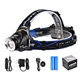 AKDSteel LED Headlamp 3 Modes Waterproof Zoomable 1000 Lumins Hands-Free Light with Rechargeable Batteries, Wall Charger, Car Charger and USB Cable for Camping, Hiking, Biking, Running, Hunting