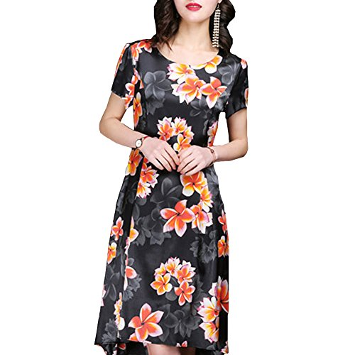 S2712 Damen Kleider Seide Cocktail Kleid Abendkleid Übergröße Schwarz E girl Gestreift Midi 45xf6qZ