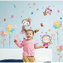 "BIBITIME Shy Girl Butterflies Flower Wall Decal Listening Music Bear Playing Drum Elephant Vinyl Stickers for Kids Room Decor Nursery Bedroom DIY 53.14"" x 26.77"""