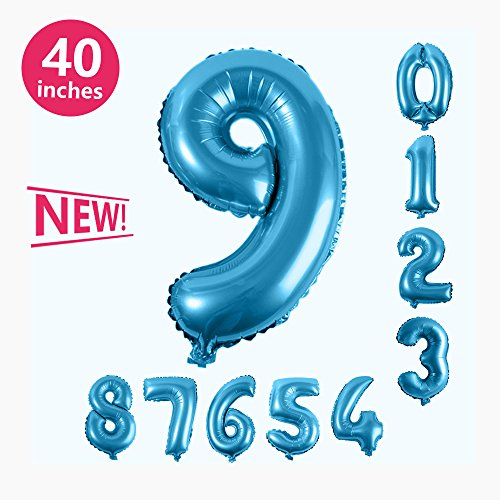 (Number Balloons, Toufftek Blue Foil 40 Inch Number 9 Funny Number Balloons for Birthday Party Baby Shower Wedding Anniversary Halloween)