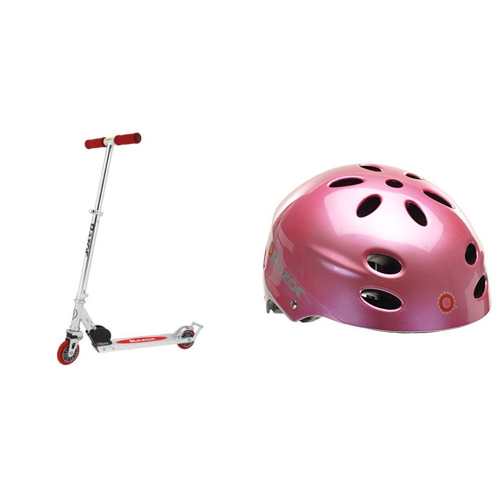 Razor A2 Kick Scooter (Red) w/ Pink Helmet