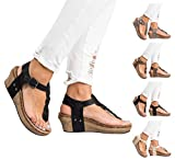 Royou Yiuoer Womens Sandals T Strap Summer Gladiator Beach Bohemian Sandals Braided Wedge Thong Shoes by Black US 6