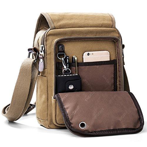 (XINCADA Mens Bag Messenger Bag Canvas Shoulder Bags Travel Bag Man Purse Crossbody Bags for Work Business)
