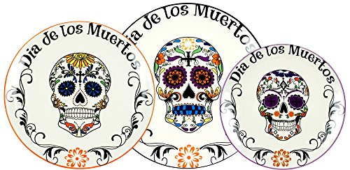 Special T Imports Day of The Dead Sugar Skull Decorative Plates - Set of -