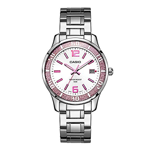 Casio Pink Dial (Casio #LTP1359D-4AV Women's Pink Sprinkled Bezel Metal Fashion Silver Dial Watch)