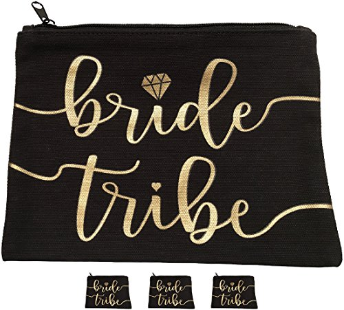 3pc Bride Tribe Makeup Bags – Bridesmaid Favor for Bachelorette Party, Bridal Shower, Wedding. Also Great as Toiletry Bag, Wedding Survival Kit, Hangover Kit, Keepsake (3pc Pack, Black & Gold)