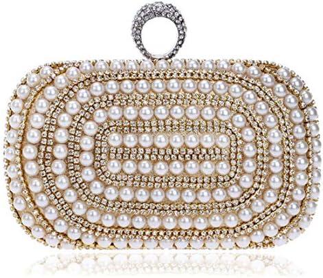 パールトート、豪華な宴会の花嫁のクラッチ、Wallet Socialiteのナイトクラブのイブニングバッグ、ゴールド、16.5 * 9.5 * 4.5 Cm 美しいファッション