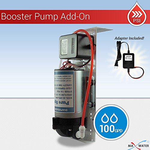 Reverse Osmosis Booster Pump 50-75 GPD Shutoff & Low Switches, Solenoid+Bracket Booster Pump Bracket