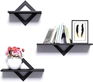 Piorlado Black Floating Shelves for Wall, Wall Shelves Set of 3, Wall Mounted Shelves for Bedroom, Hallway, Office, Living Room