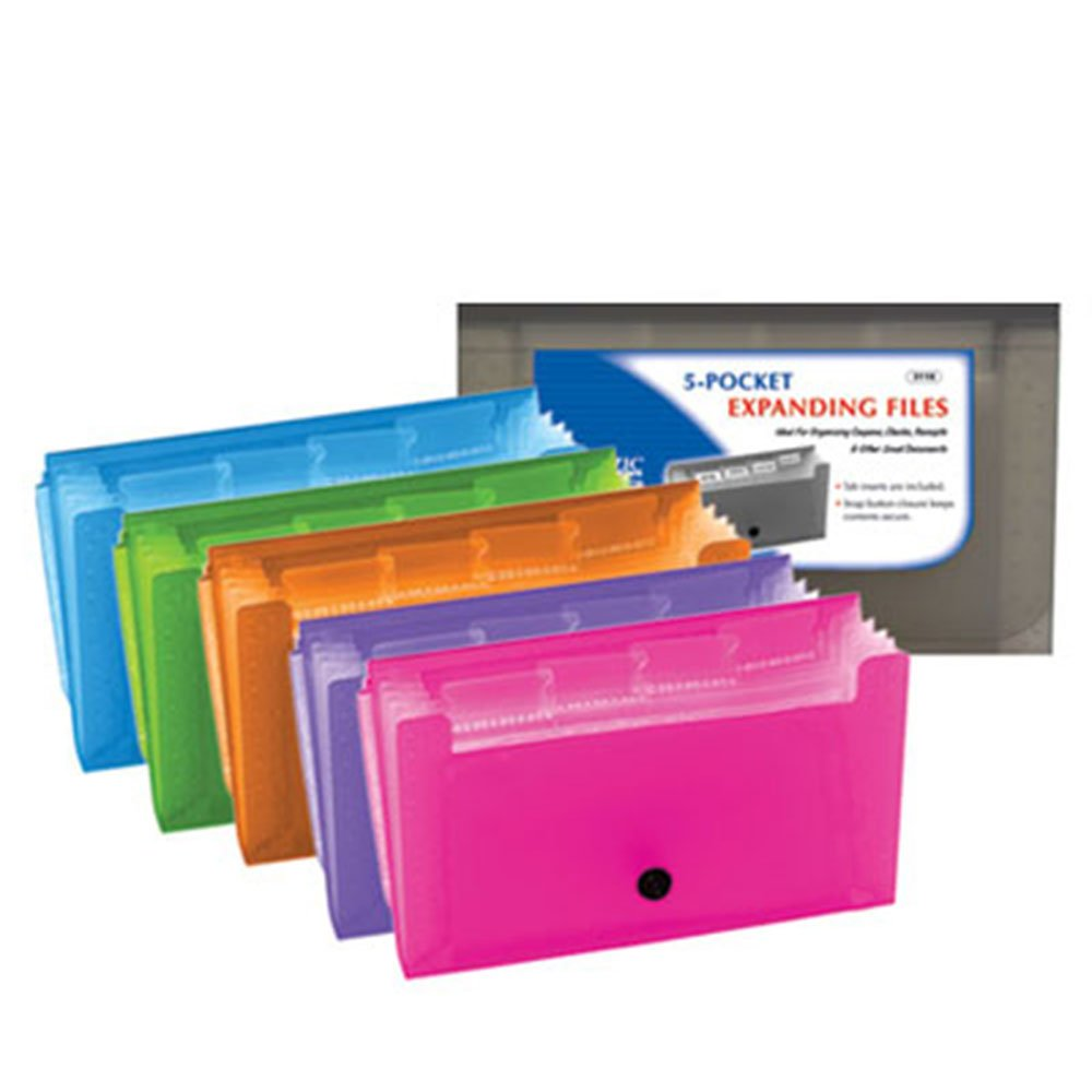 BAZIC 5-Pockets Coupon/Personal Check Size Expanding File (Case of 144)