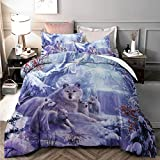 Wolf Duvet Cover Queen 3D Animal Snow Wolf Family