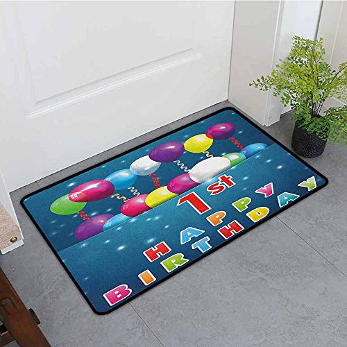 1st Birthday Door mat Customization Balloons with Stars Image in a Pocket Party Theme Image Print Antifouling W35 x L47 Dark Blue Pink and Purple