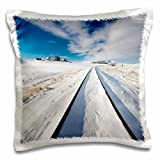 3dRose Danita Delimont - Washington - Washington State, Pullman, Railroad tracks running through the snow - 16x16 inch Pillow Case (pc_251583_1)