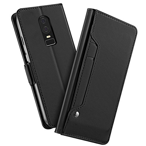TOTOOSE OnePlus 6 Case,Pouch Excellence Premium PU Leather Wallet Case Excellence with Kickstand and Credit Card Slot Cash Holder Flip Cover for OnePlus 6 Black by TOTOOSE