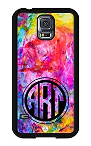 iZERCASE Samsung Galaxy S5 Case Monogram Personalized Colorful Art Pattern RUBBER CASE - Fits Samsung Galaxy S5 T-Mobile, Sprint, Verizon and International (Black) wangjiang maoyi