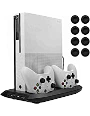 Lictin Xbox One S Vertical Stand Cooling Fan with Dual Charging Station for 2 Xbox One S Controllers + 8 Silicone Thumb for Xbox One S Controller(Black)