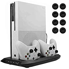 Lictin Xbox One S Vertical Stand Cooling Fan with Dual Charging Stationfor 2 Xbox One S Controllers + 8 Silicone Thumbs for Xbox One S Controller