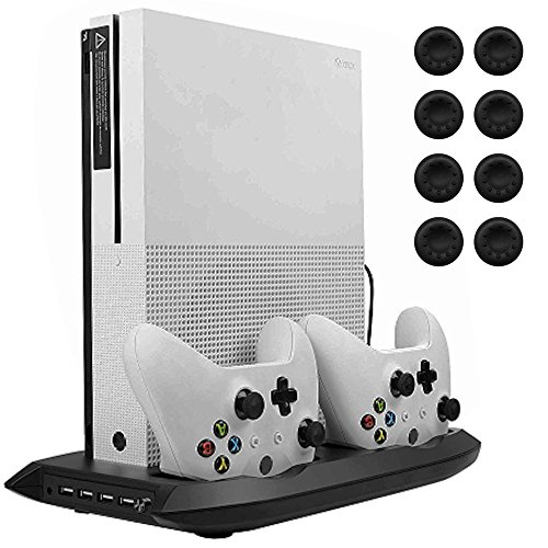 (Lictin Xbox One S Vertical Stand Cooling Fan with Dual Charging Station for 2 Xbox One S Controllers + 8 Silicone Thumbs for Xbox One S Controller Black)