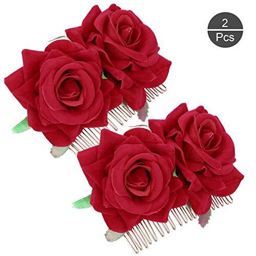 OOTSR 2 piezas de pinza de pelo flor rosa, rosa roja horquilla para mujeres ninas boda accesorios para el cabello