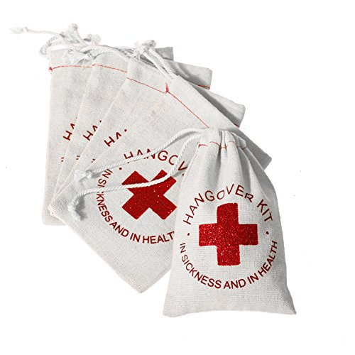 Ling's Moment 10pcs 4x6 inches in Sickness and in Health Hangover Kit Bags with Glitter RED Cross Bachelorette Party Gift Bags Recovery Kit Favor Bag Wedding Welcome Bag Cotton Muslin Drawstring Bag