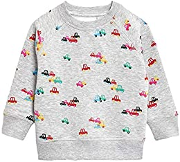 Baby Boys Crewneck Cotton Cartoon Car Long Sleeve Pullover Sweatershirt