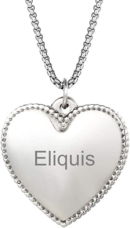 SL Custom Free Engraving Personalized Name Stainless Steel Eliquis Medical Alert Necklace Allergy Disease Awareness Heart Pendant,Emergency Life Saver for Women,Men,Adults-Engravable