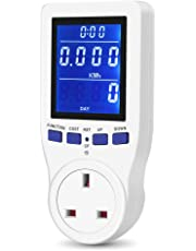 [2019 Upgrade]UK Plug Power Meter Energy Monitor Electricity Usage Volt Amps Watt kWh Consumption Home Electrical Analyzer with HD LCD Backlight Display Overload Protection Calculate CO₂Emissions