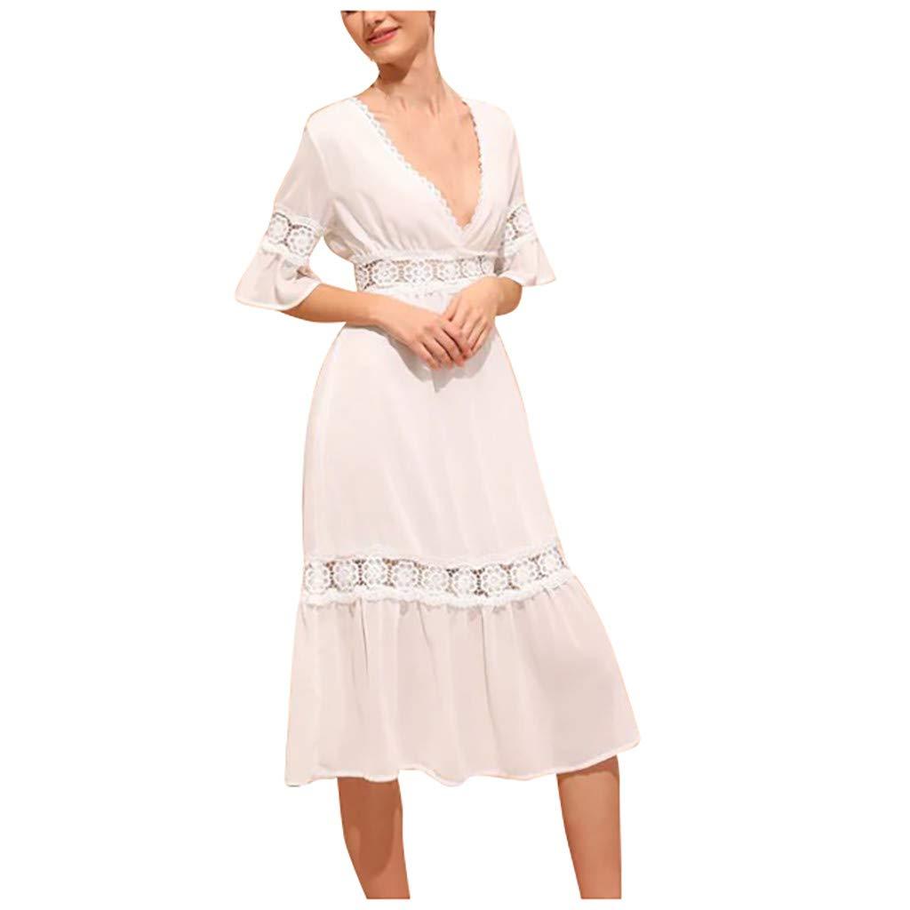 LONGDAY Women Summer Dress V-Neck Midi Dress Short Sleeve T Shirt Lace Ruffles Tunic Knee Length Hollow Casual Skirt White by LONGDAY-Women Dresses