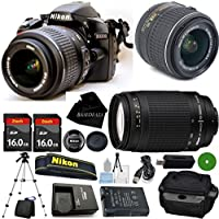 D3200 24.2 MP CMOS Digital SLR, NIKKOR 18-55mm f/3.5-5.6 Auto Focus-S DX VR, 70-300mm f/4-5.6G Auto Focus Nikkor, 2pcs 16GB BaseDeals Memory, Camera Case