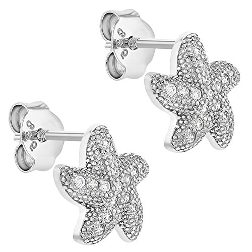 d9f6d8e55e8b De bajo costo In Season Jewelry - 925 Plata de Ley Circonita Clara Pendientes  Estrella de