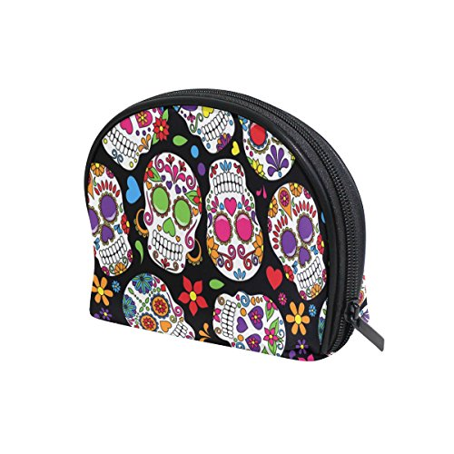 LORVIES Day Of The Dead Sugar Skull Cosmetic Pouch Clutch Makeup Bag Travel Organizer Case Toiletry Pouch for Women ()