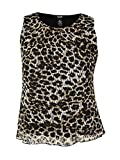 Alfani Womens Plus Lace Animal Print Blouse Black 0X