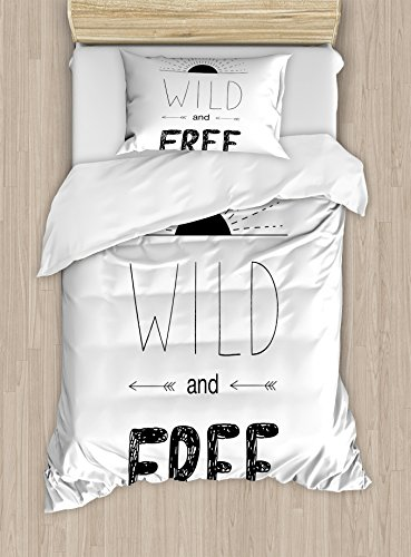- Ambesonne Adventure Duvet Cover Set Twin Size, Abstract Hand Drawn Rising Sun Figure Arrows Wild Free Forest Sketch Art Design, Decorative 2 Piece Bedding Set with 1 Pillow Sham, Black White