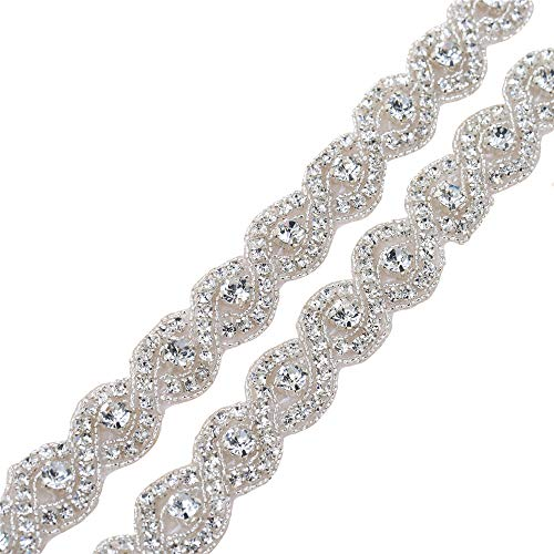 XINFANGXIU Bridal Wedding Dress Sash Belt Applique 1 yard with Crystals Rhinestones Beaded Dacorations Handcrafted Sparkle Elegant Thin Sewn or Hot Fix for Women Gown Evening Prom Clothes - (Waist Beaded Bodice)
