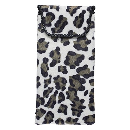 Felt Slip In Glasses Case - Soft, Compact, Padded Eyeglasses Protective Pouch - Protects Eyewear from Scratches and Damage - Black, White and Tan Leopard Print - By - Case Leopard Print Glasses