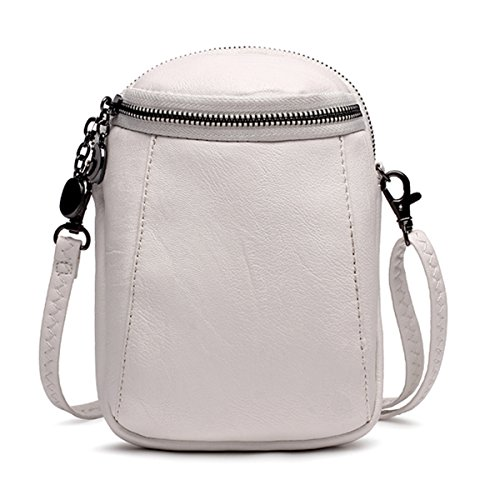 JOSEKO Crossbody Bag for Women, PU Leather Round Little Phone Bag Casual Bucket Bag Vintage Travel Bag for Women Girls Ladies White 5.12 inch(L) x 2.36 inch(W) x 7.48 inch(H) by JOSEKO