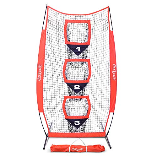 (GoSports 8' x 4' Football Training Vertical Target Net | Improve QB Throwing Accuracy - Includes Foldable Bow Frame and Portable Carry Case)