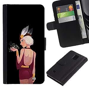 iBinBang / Flip Funda de Cuero Case Cover - Burlesque Sexy Woman Fairy Art Drawing Ears - Samsung Galaxy Note 4 SM-N910