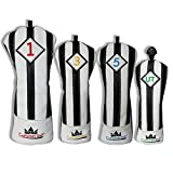 Craftsman Golf Black with White Stripes Series Golf Club Driver Wood UT Hybrid Head Cover Headcover (4pcs (#1,#3,#5,UT Cover))