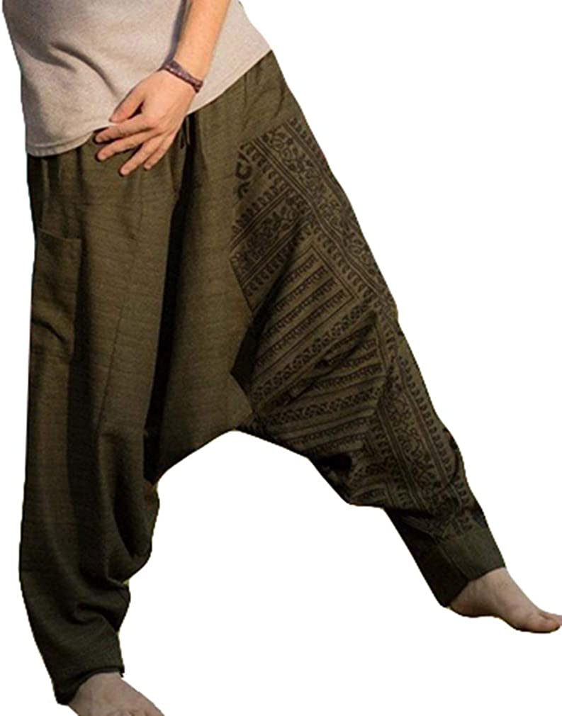 MEIHAOWEI Hombres de la Moda Pantalones Harem Pantalones Holgados de Algodón Pantalones Sueltos Suaves Boho Hippie Sweatpant Pantalones Largos Pantalones