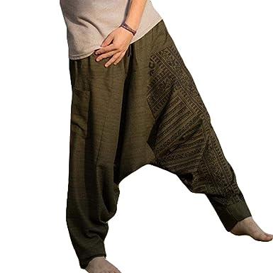 Haremshose Herren Yoga Hose und Hippie Hose Männer Bequeme Elastische  Taillenhose mit Kordelzug Lose Fit Casual d8319a6fa5