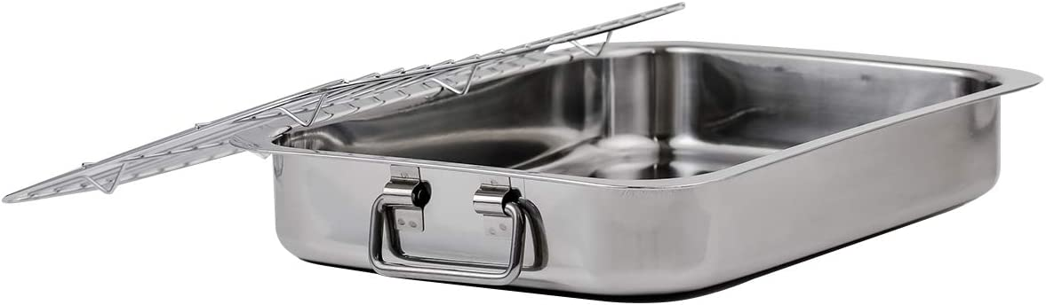 OVENTE Oven Roasting Pan 13 x 9.3 Inch Non Stick Stainless Steel Tray with Rack, Easy to Clean with Dishwasher Safe Feature, Great for Turkey, Roast Potatoes, Fish and More, Silver (CWR23131S)