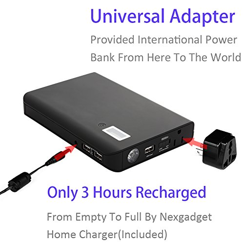 NexGadget Patented 24000mAh Multi-Function Laptop Power Bank With 1 AC Outlet And 3 USB Ports, Portable External Battery Pack Travel Charger For All Laptops, Notebooks, Tablets, Smartphones