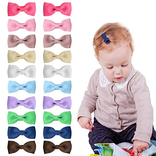 Slip Baby Snap Clip - Shemay 10 Pairs 2 inches Tiny Boutique Grosgrain Ribbon Hair Bow Alligator Clips Barrettes for Baby Girls Toddlers Kids