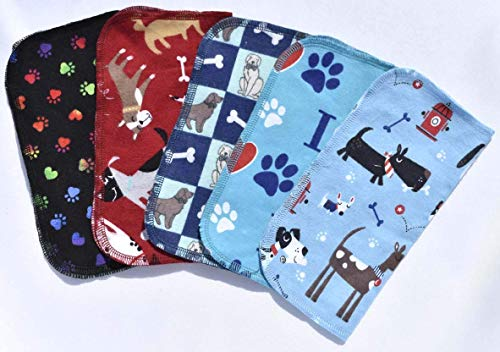 1 Ply Printed Flannel 8x8 Inches Little Wipes Set of 5 Puppy Paw Prints