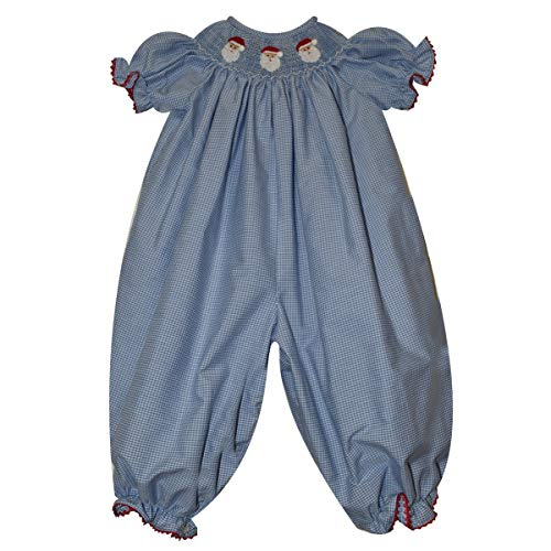 - Silly Goose Santa Face Smocked Light Blue Check Girls Long Bubble