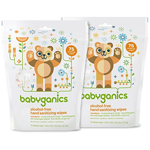Babyganics Alcohol-Free, Hand Sanitizing Wipes, Mandarin, 75 Individual Packets, (Pack of 2, 150 Total Wipes)