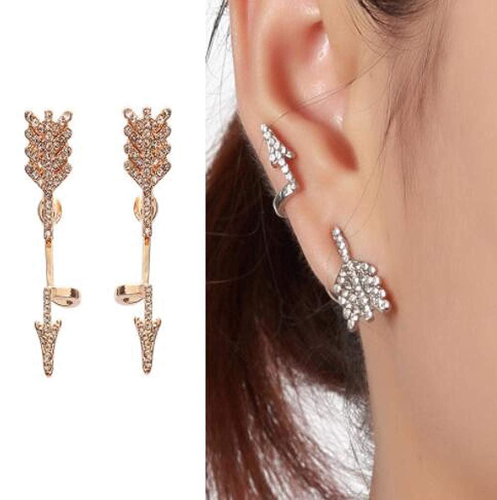 HoGadget Sterling Post Ear Crawler Arrow Cuff Earrings Stud Ear Climber Jackets for Women Girls