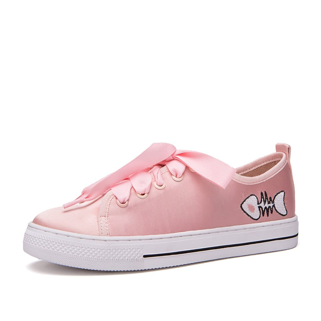 Color : Pink , Size : 36 Fashion Ribbon Flat Shoes Women Cute Cartoon Embroidery Casual Shoes