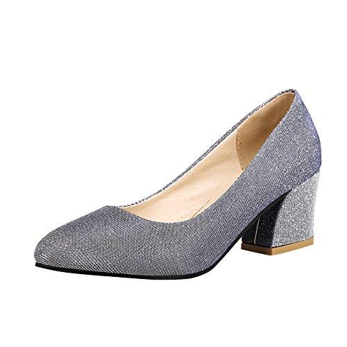 Latasa Womens Fashion Pointed-toe Mid Chunky Heel Glitter Dress Pumps Shoes Silver